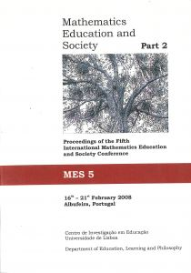 "Capa do livro ""Mathematics Education and Society: Proceedings of the Second International Mathematics Education and Society Conference - Part 2"". Editores: João Filipe Matos, Paola Valero & Keiko Yasukawa"