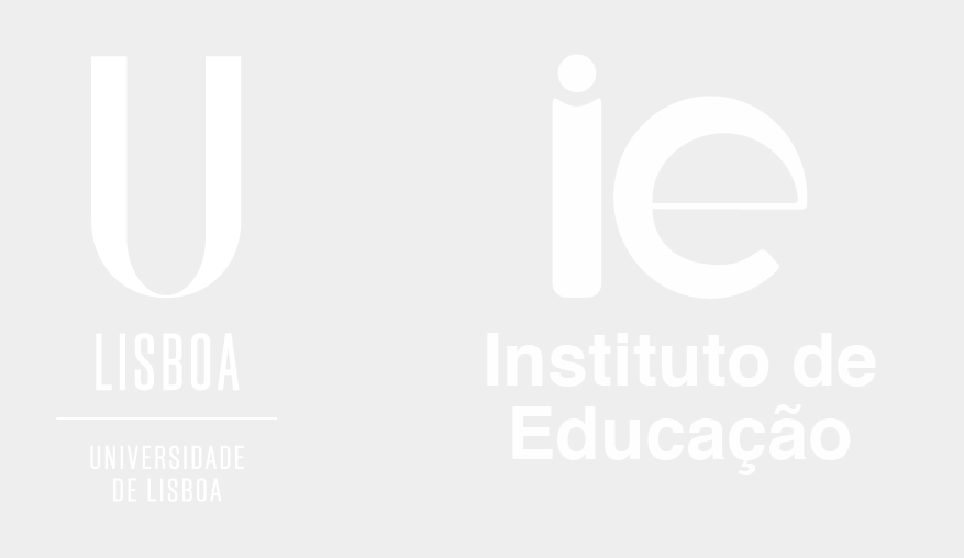IE - Logótipo vertical branco com fundo cinza